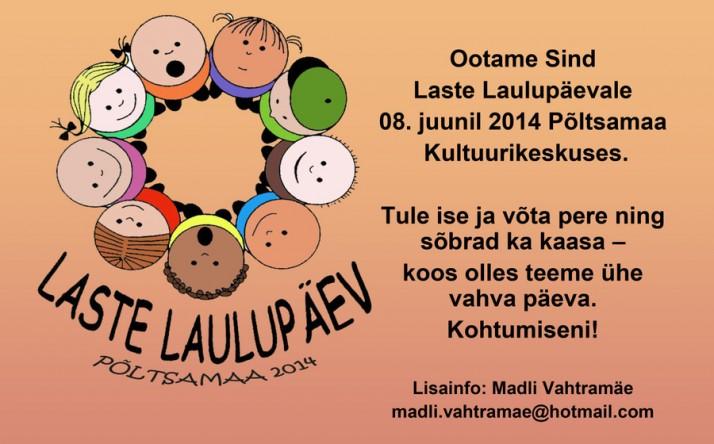 laste laulupaeva kuulutus 2014 714x444 Laste üritused suvel