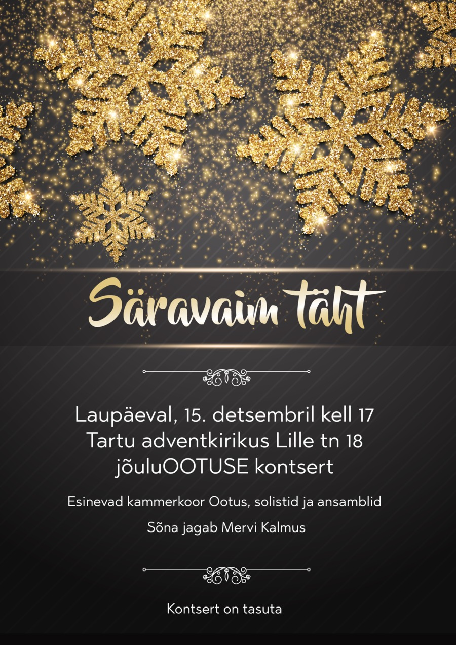 jouluootuse kontsert veebi.png JõuluOOTUSE kontsert 15. detsembril Tartu adventkirikus
