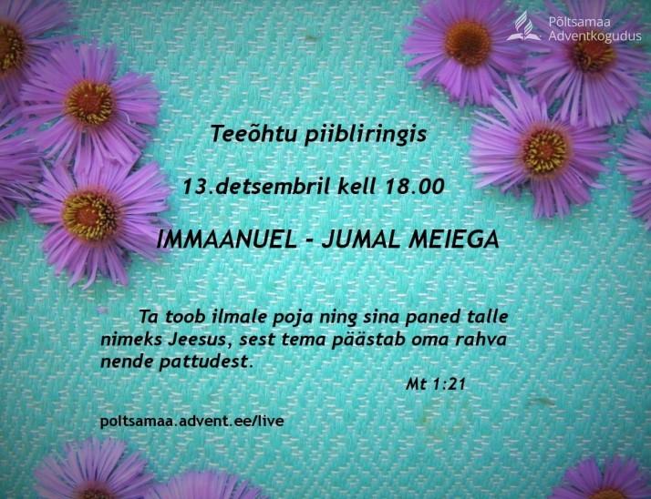 teeõhtu detsembris  714x548 Olete oodatud teeõhtule piibliringis 13. detsembril 18.00